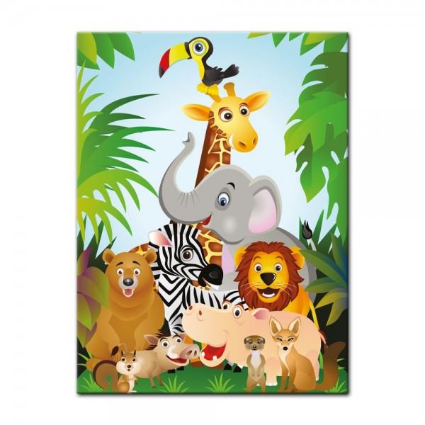 Leinwandbild - Kinderbild - Dschungeltiere Cartoon II