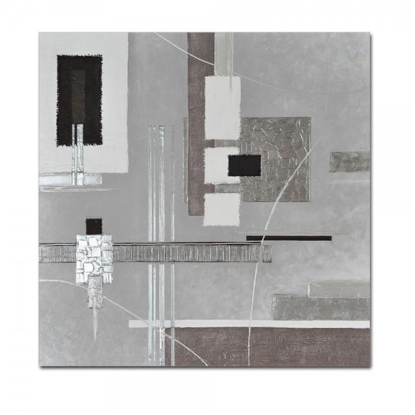 Abstrakte Kunst M8 handgemaltes Leinwandbild 80x80cm - 4cm Galerierahmen! - 808
