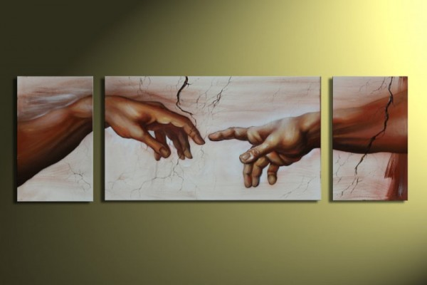 Michelangelo Hände - KOMPLETT Handgemalt Tryptik - 2 Größen