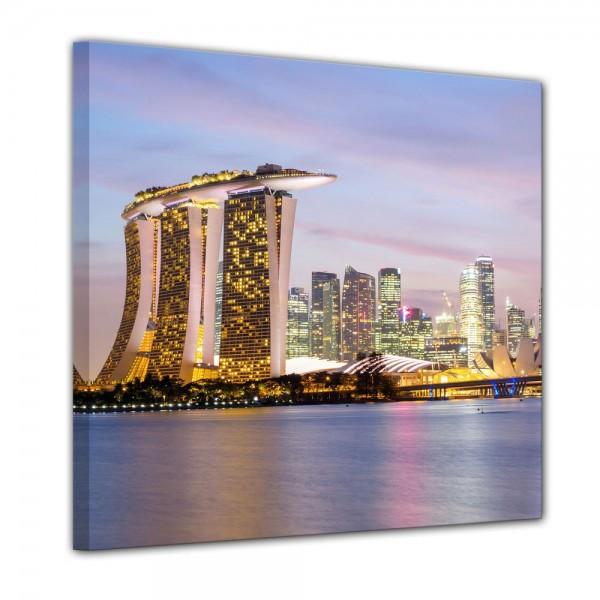 SALE Leinwandbild - Singapur Skyline II - 80x80 cm