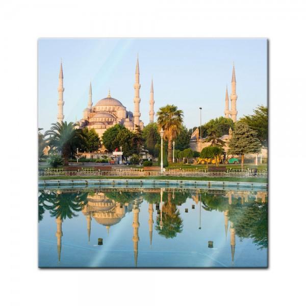 Glasbild - Sultan-Ahmet-Moschee in Istanbul - Türkei