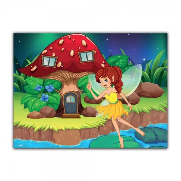 Leinwandbild - Kinderbild - Feenhaus - Cartoon