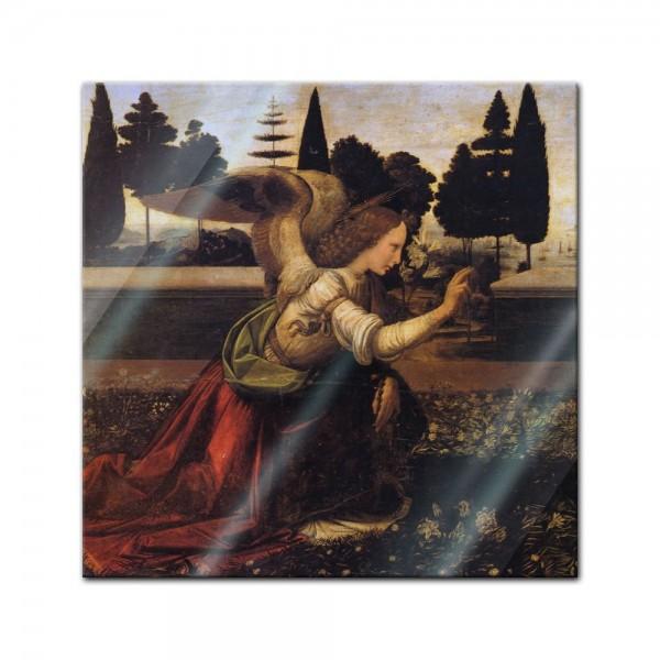 Glasbild Leonardo da Vinci und Andrea del Verrocchio - Alte Meister - Verkündigung an Maria