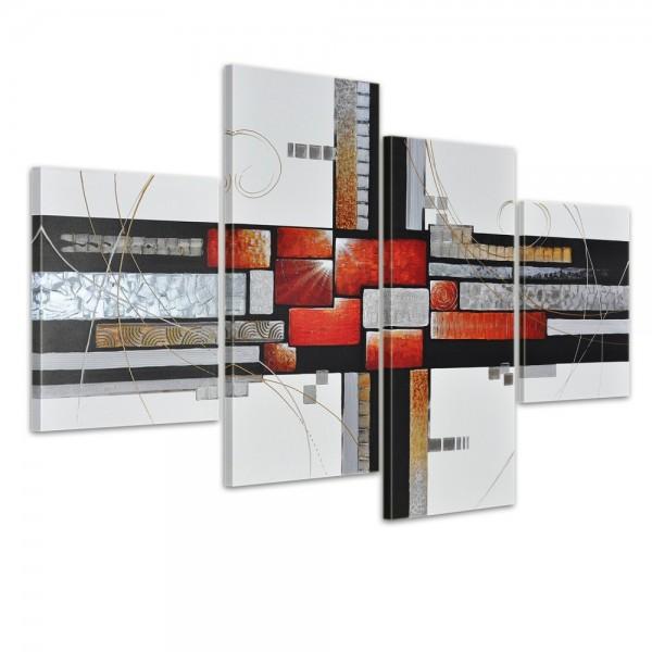 Abstrakte Kunst M11 - Leinwandbild 4 teilig 120x80cm Handgemalt