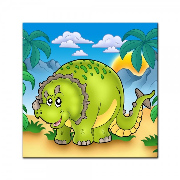 Leinwandbild - Dino Kinderbild - Triceratops