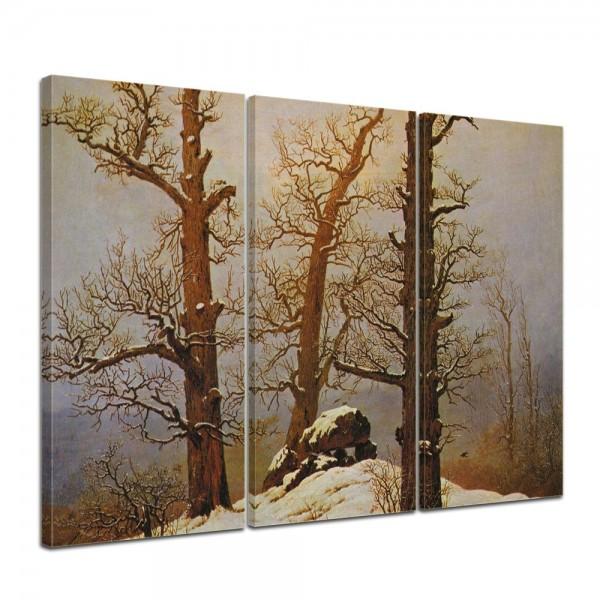 SALE Leinwandbild - Caspar David Friedrich - Hünengrab im Schnee - 120x80 cm 3tlg