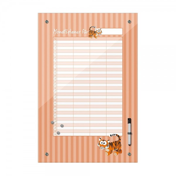 Memoboard - Monatsplaner für Kinder - Tiger