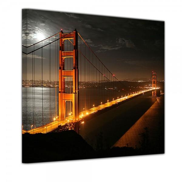 SALE Leinwandbild - Golden Gate Bridge bei Nacht (Vollmond) - 60x60 cm