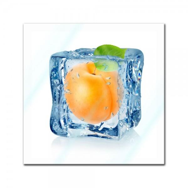 Glasbild - Eiswürfel Aprikose
