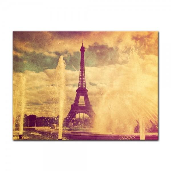 Leinwandbild - Eiffelturm im Retrostyle - Paris Frankreich