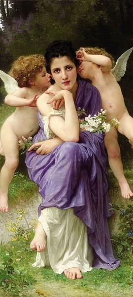 Türtapete selbstklebend - William-Adolphe Bouguereau - Frühlingsmelodie 90 x 200 cm Maler Alte Meis