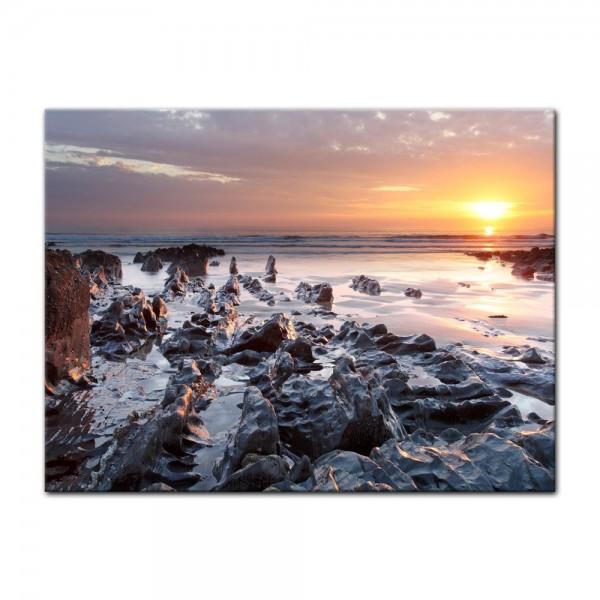 Leinwandbild - Sonnenuntergang Küste Woolacombe North Devon, England