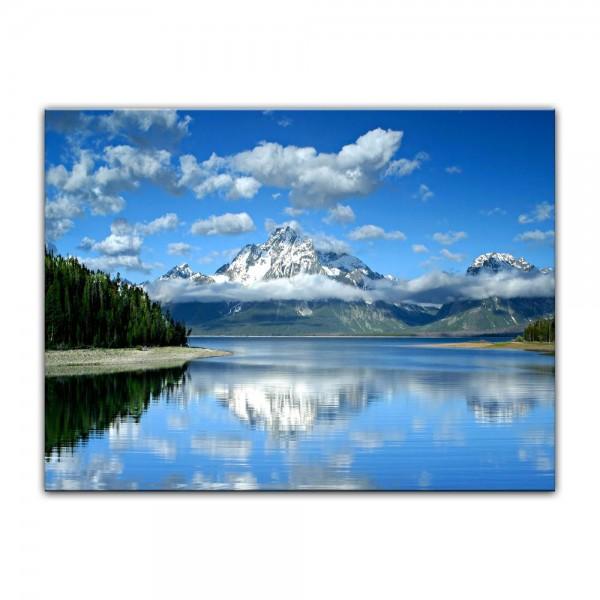 Leinwandbild - Berglandschaft am Lake Jackson - Wyoming USA