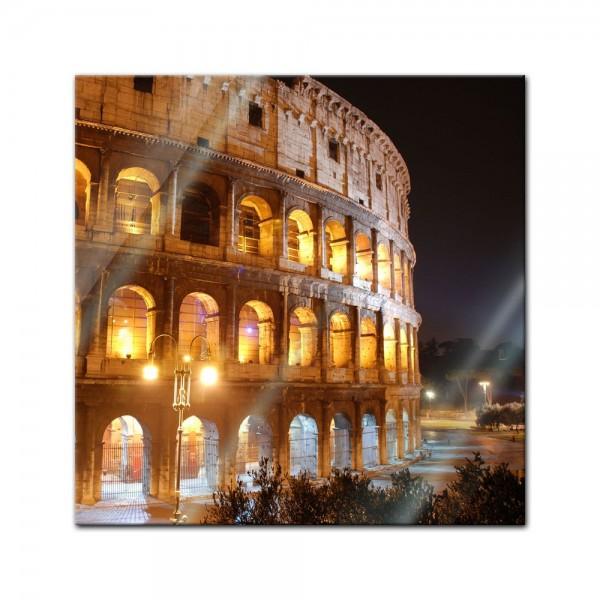 Glasbild - Kolosseum bei Nacht