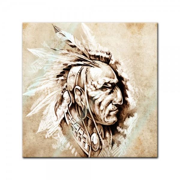 Glasbild - Indianer II, Tattoo Art