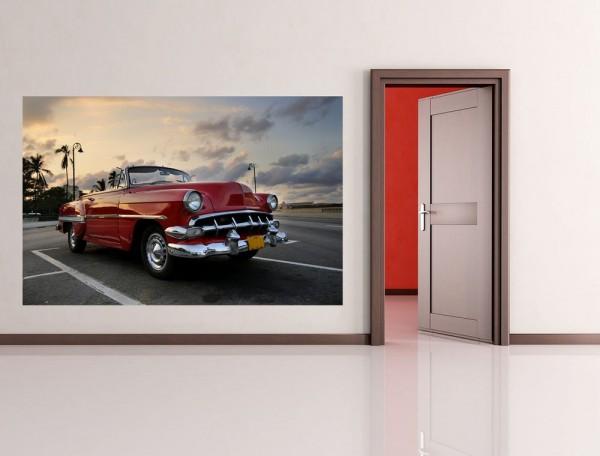Fototapete - Roter Oldtimer - Havanna