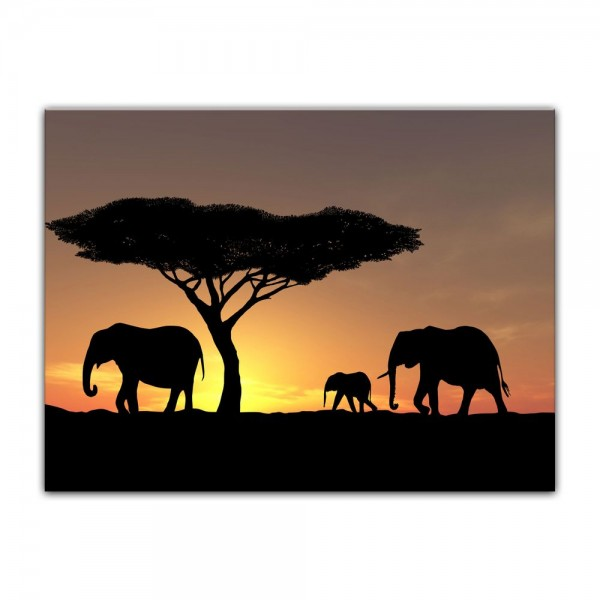 Leinwandbild - Elefanten im Sonnenuntergang