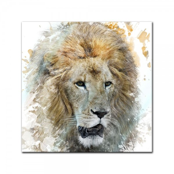 Glasbild Aquarell - Löwe