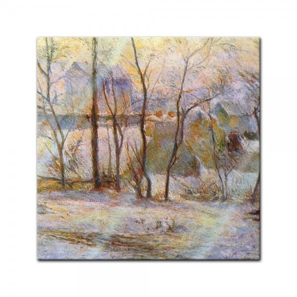 Glasbild Paul Gauguin - Alte Meister - Garten im Schnee