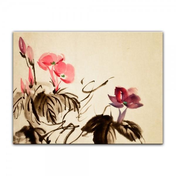 Leinwandbild - Aquarell - Chinesische Blume III