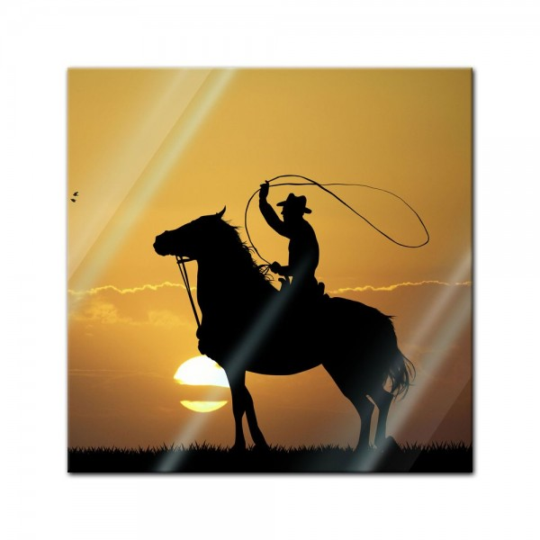 Glasbild - Rodeo Cowboy