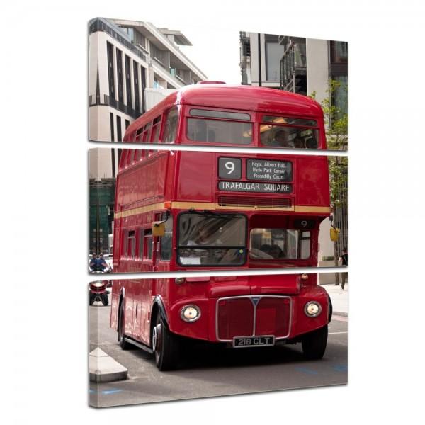 SALE Leinwandbild - Alter Doppeldeckerbus London - 60x90 cm 3tlg