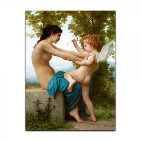Leinwandbild - William-Adolphe Bouguereau - Eine junge Frau verteidigt sich vor Eros