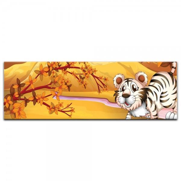 Leinwandbild - Kinderbild - Tiere Cartoon VIII - Weißer Tiger