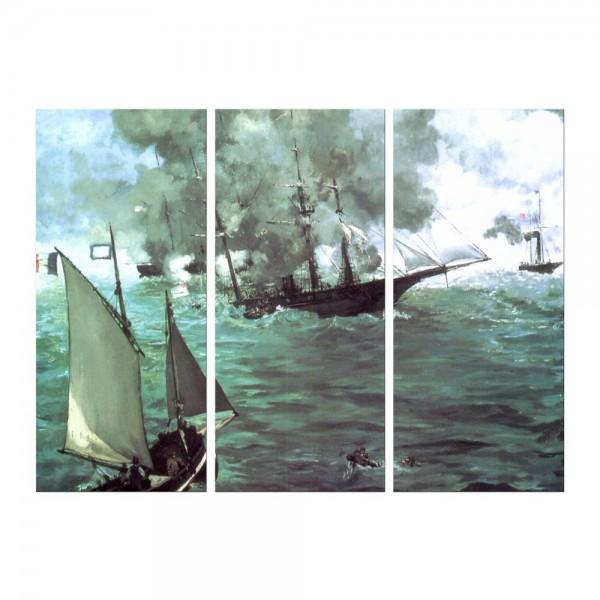 Leinwandbild - Édouard Manet - Seegefecht zwischen der Kearsage und der Alabama