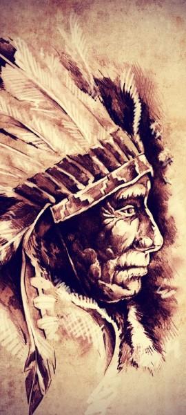 Türtapete selbstklebend Indianer III Vintage 90 x 200 cm Amerikanischer Ureinwohner Kultur Kreideze
