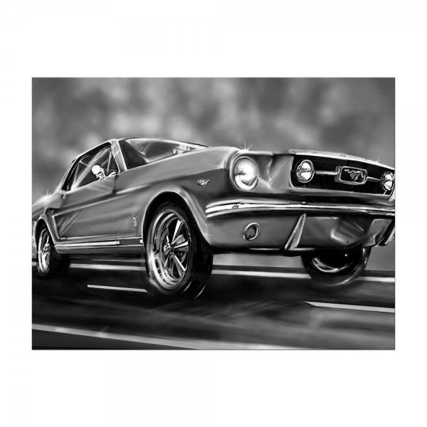 Leinwandbild - Mustang Graphic - schwarz weiß