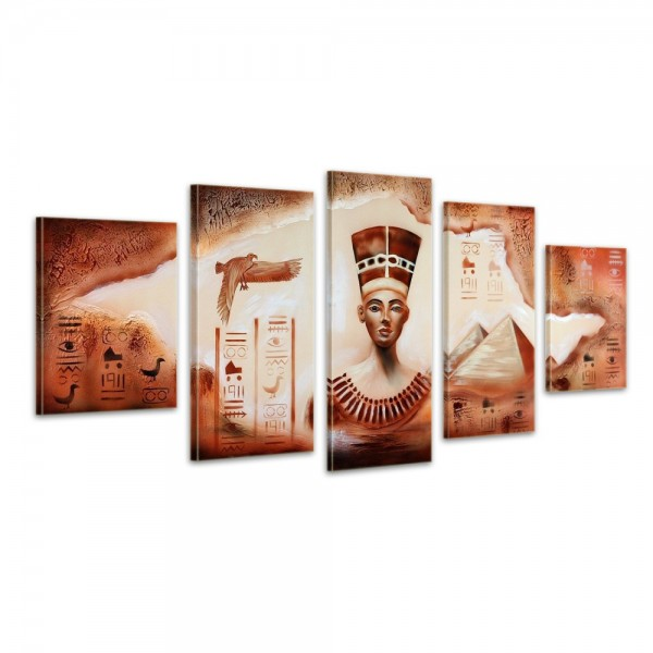 Ägypten Pyramide - Leinwandbild 5 teilig 150x70cm Handgemalt