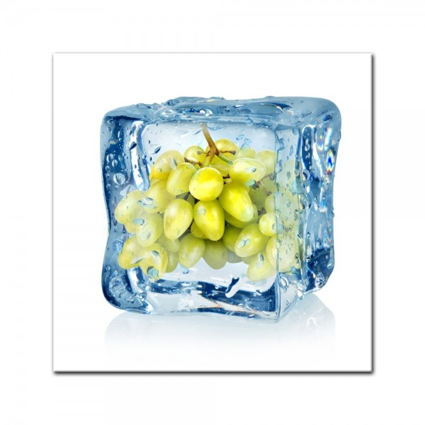 Leinwandbild - Eiswürfel Weintrauben