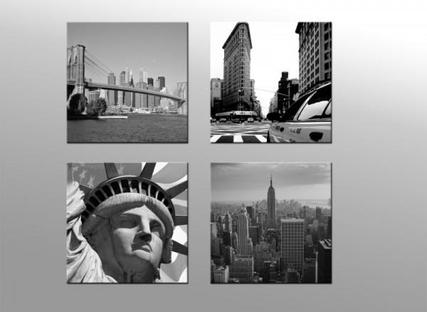 Wandbild Set 4 teilig New York - je 20 x 20 cm