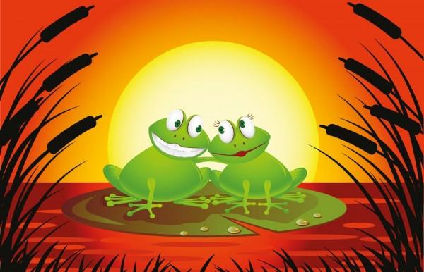 Fototapete - Kinderbild Verliebter Frosch Cartoon