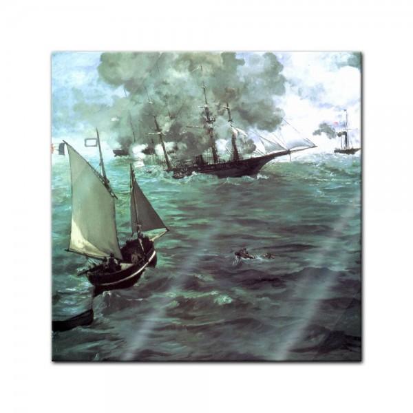 Glasbild Edouard Manet - Alte Meister - Seegefecht zwischen der Kearsage und der Alabama