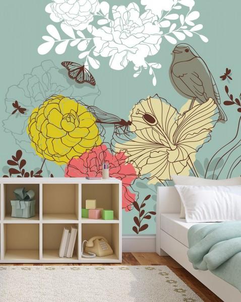 selbstklebende Fototapete - Kinderbild - Blumen Vogel Schmetterlinge