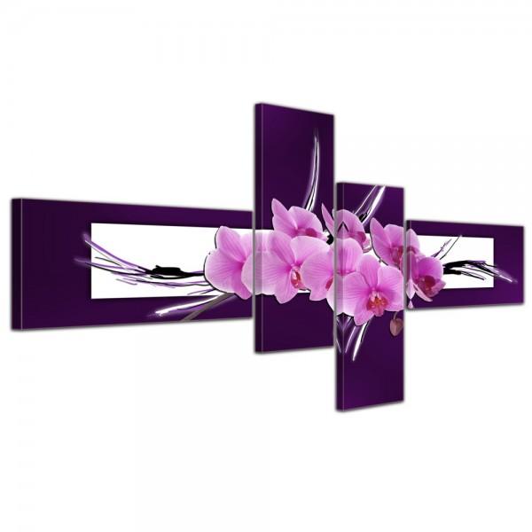 Leinwandbild - Abstrakte Kunst Orchidee - 140x65cm 4 teilig
