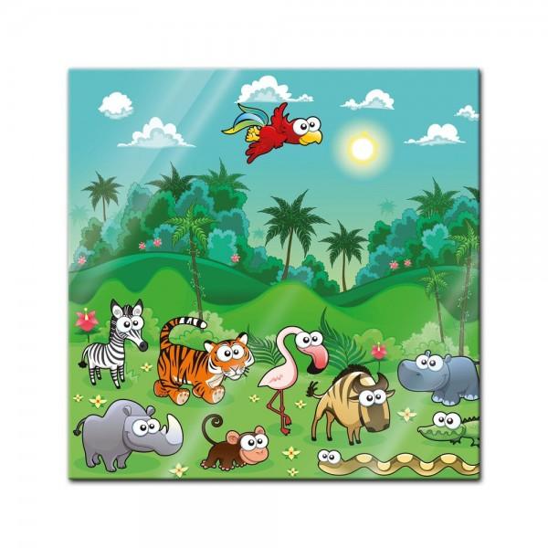 Glasbild - Kinderbild - Dschungeltiere Cartoon I