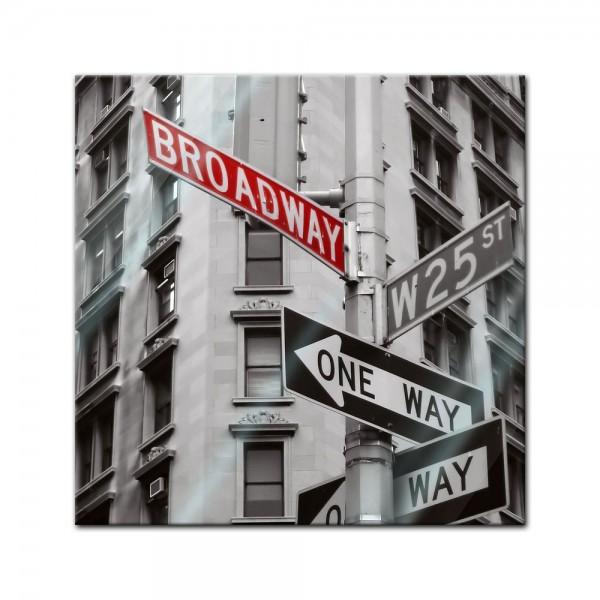 Glasbild - Broadway Strassenschild