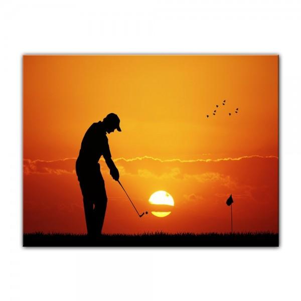 Leinwandbild - Silhouette - Golf im Sonnenuntergang