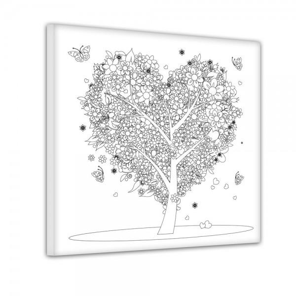 Baum aus Herzen - Ausmalbild