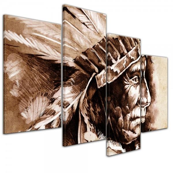 SALE Leinwandbild - Indianer III, Tattoo Art - 120x80 cm 4tlg
