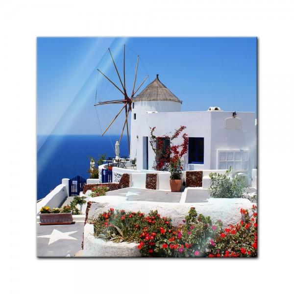Glasbild - Griechische Mühle