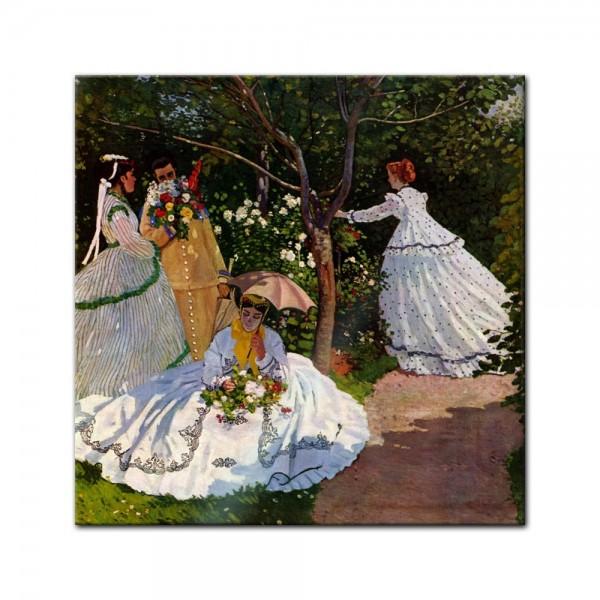 Glasbild Claude Monet - Alte Meister - Frauen im Garten
