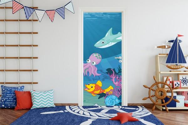 Türaufkleber - Kinderbild Unterwasser Tiere X