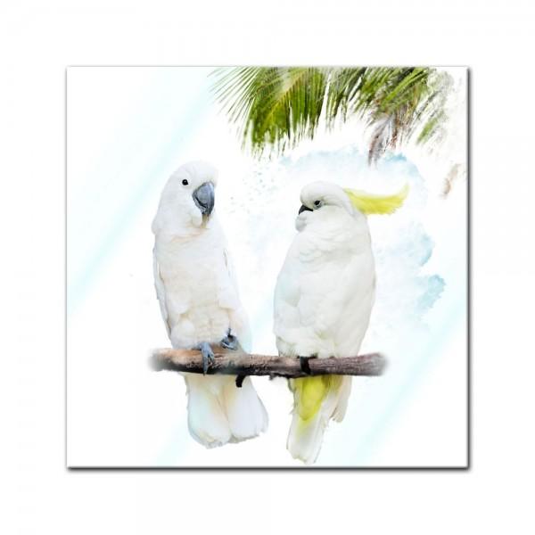 Glasbild - Wasserfarbenbild - Kakadus