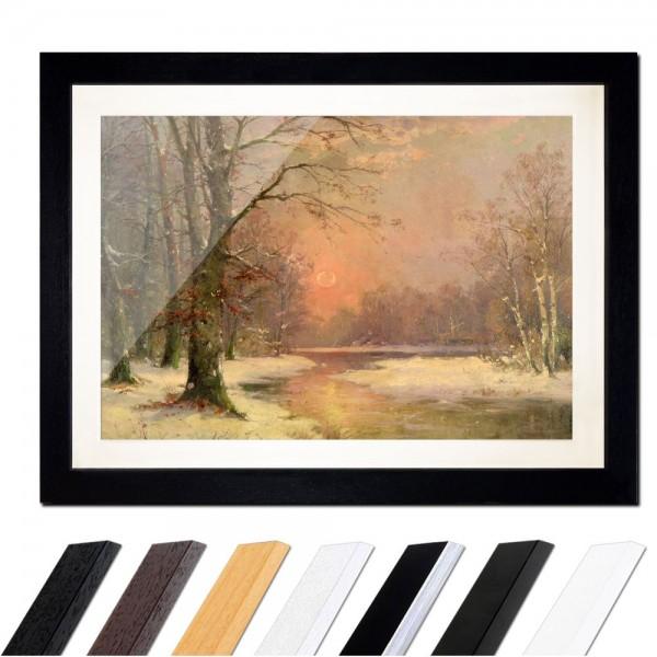Adolf Kaufmann - Sonnenuntergang in Winterlandschaft