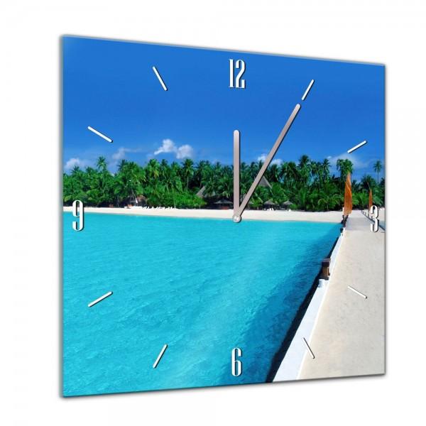 Glasuhr - Sonne, Strand und Meer - Malediven - 40x40cm
