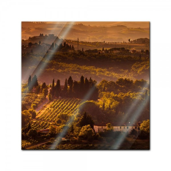 Glasbild - Toskana im Sonnenuntergang II